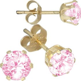 Jewelco London 9ct Yellow gold studs claw-set with 5mm Solitaire pink cubic zirconia stone