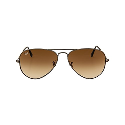 Ray-Ban AVIATOR LARGE METAL - GUNMETAL Frame CRYSTAL BROWN GRADIENT Lenses 58mm Non-Polarized (Ray Ban Metal Frame compare prices)