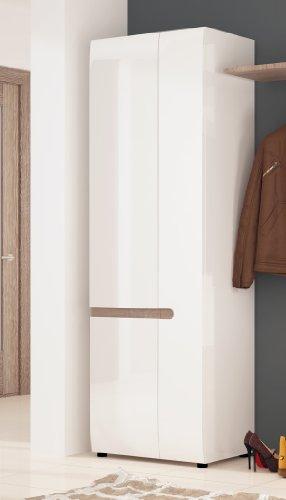 dielenschrank garderobenschrank 2 t rig 16735 wei hochglanz eiche tr ffel. Black Bedroom Furniture Sets. Home Design Ideas
