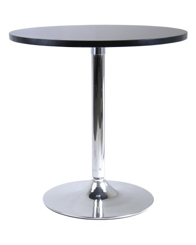 Winsome Wood 29-Inch Round Dining Table, Black with Metal Leg