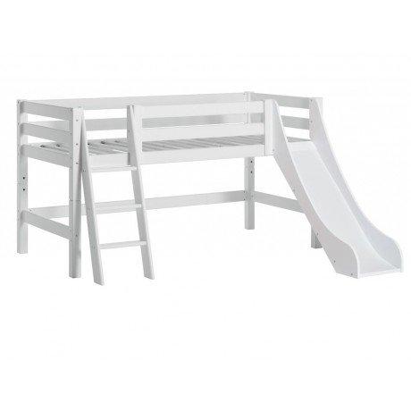 Alfred & Compagnie - Lit mi-hauteur 90x200 à toboggan Andrija blanc