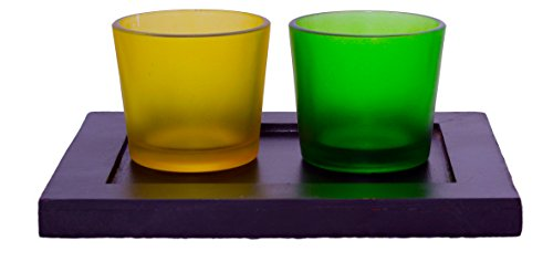 Lime Light Wood And Glass Votive Candle Holder ( 17.5cm X 13cm X 7cm, Set Of 2 Holders In A Tray, VOT-05 )