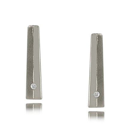 Diamond Earrings in Sterling Silver - Two Tone Drop