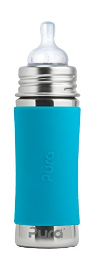Pura Kiki 11 oz Stainless Steel Infant Bottle with Silicone Sleeve, Aqua (Plastic Free, NonToxic Certified, BPA Free)