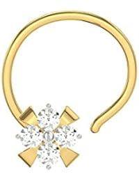 TBZ - The Original Floral 18k Yellow Gold And Diamond Nosepin - B01BD4N4YK