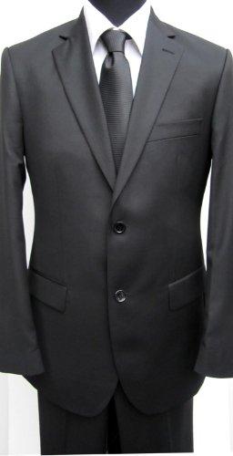 MUGA mens Suit elegant, Slim-line Lozenzo, Black, Size 34R (EU 44)
