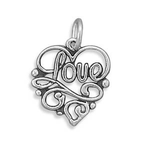 Sterling Silver Love Heart Charm Measures 14x12.5mm - JewelryWeb