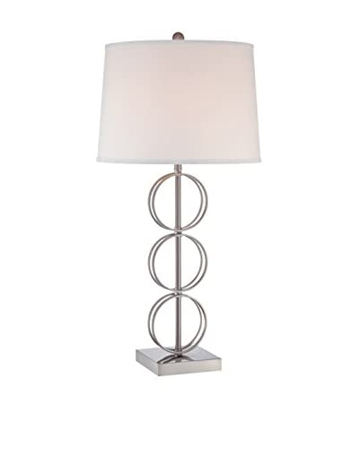 Lite Source Isaia Table Lamp, Polished Steel/Off-White