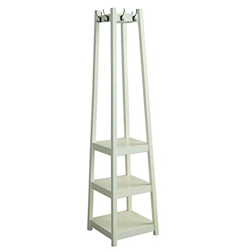 White Three Tier Tower Shoe and Coat Rack