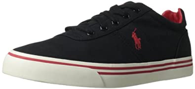 Polo Ralph Lauren Men's Hanford Fashion Sneaker,Black/Real Red,8 D US