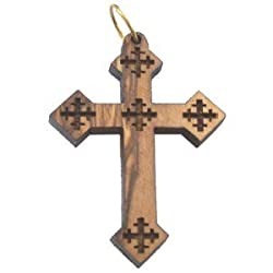 "Olive wood Coptic Cross Laser Pendant(8cm or 3.15"" long )"