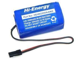 Hi-Energy Receiver Battery 4.8V 2200mAh NiMH Sq JR/Sanwa Conn