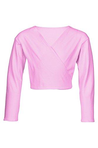 """tanzmuster Kinder Ballett Wickeljacke """"Mandy"""" - praktische, wärmende Ballettjacke für das Ballett Training in den Farben rosa, weiß, schwarz, hellblau, pink und lila."""