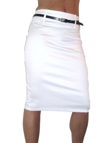 ICE (2347) pencil skirt stretch sateen + FREE belt white size 8-18 (14) Image