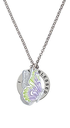 Large Translucent Purple & Lime Green Flying Butterfly - I Am Blessed Affirmation Necklace