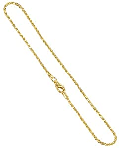 BDAGP002-10 Gold over Silver Vermeil 1.5mm Rope Chain 10