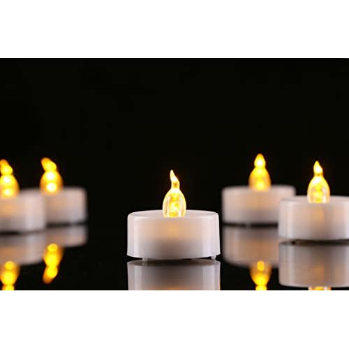 homemory led flameless fake tea light candle amber yellow flickering tea light candles in. Black Bedroom Furniture Sets. Home Design Ideas