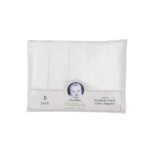 Gerber Prefold Birdseye Organic Diaper, White - 1