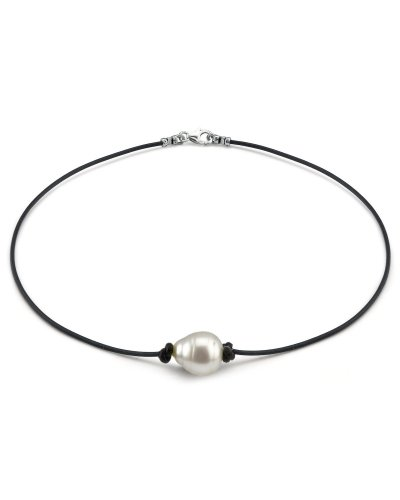 Australian Baroque Pearl Leather Necklace