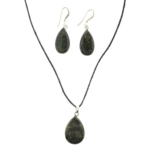 Genuine Dragon Blood Jasper Semi-Precious Pendant and Earring Set – Pear Shape – Pendant 23 x 15mm – Necklace Included – Earrings 20 x 12mm – Sold as a Set