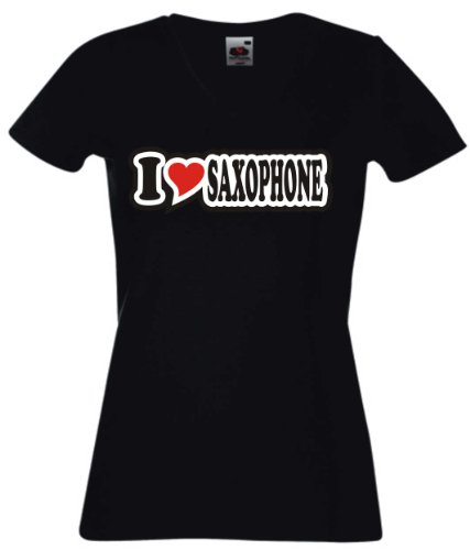 T-Shirt-Damen-I-Love-Heart-V-Ausschnitt-I-LOVE-SAXOPHONE