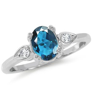 Natural London Blue & White Topaz 925 Sterling Silver Engagement Ring Size 9