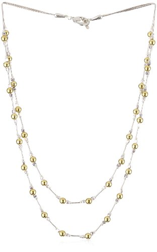 Gold Silk 2 Strand Graduated Two Toned Necklace