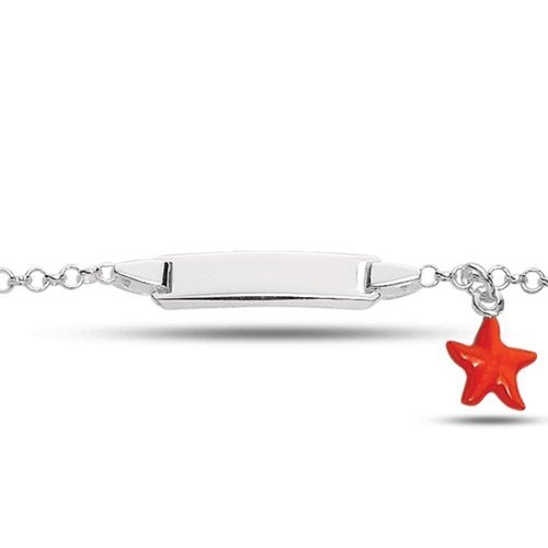 Baby Id Rolo Link Bracelet With Orange Starfish In Sterling Silver (6 Inches)