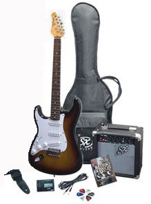 RST 3TS LH Left Handed 3 Tones Electric Guitar Package with Full Size Electric Guitar, Amp, Carry Bag, and Instructional DVD