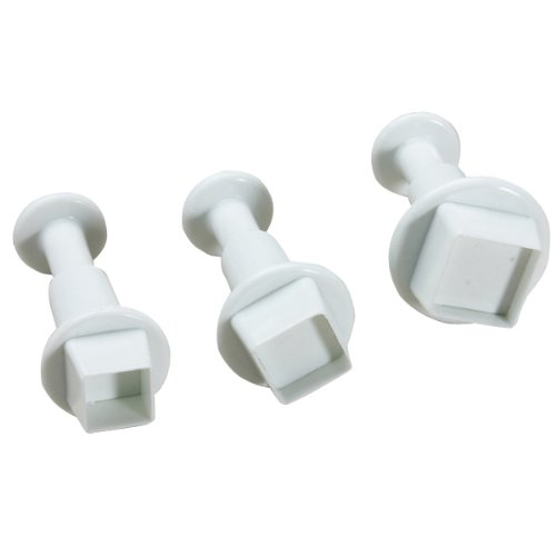 Generic 3Pcs/Set Square Shape Cake Plunger Set Fondant Sugarcraft Decorating Cutters Tools