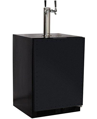 Marvel Built-In Kegerator - X-CLUSIVE Premium 2-Tap Direct Draw Kit - Black with Overlay Door