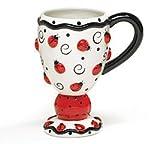Adorable Ladybug Cappuccino Coffee Mug With Ladybugs And Swirls