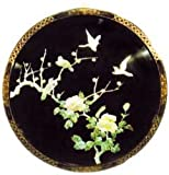 "Mother of Pearl Oriental Wall Hanging - Chinese Black Lacquer, 30""D"