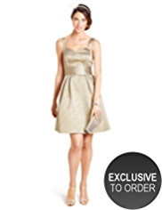 M&S Collection Scoop Neck Jacquard Prom Dress