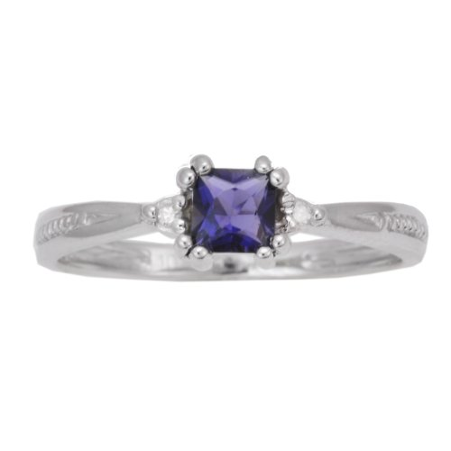 10K White Gold Iolite PrincessCut Exotic Gemstone and Diamond Solitaire Ring, Size 7