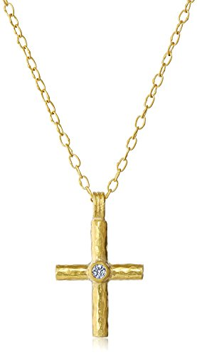 GURHAN-Renaissance-Gold-Small-White-Diamond-Cross-Pendant-Necklace-110cttw-G-H-Color-SI1-Clarity