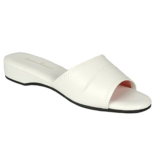 low price daniel green juniors womens white open toe bedroom slippers