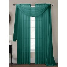 Sheer Voile Curtain Scarf - 216 Inch Length (Grey Teal)