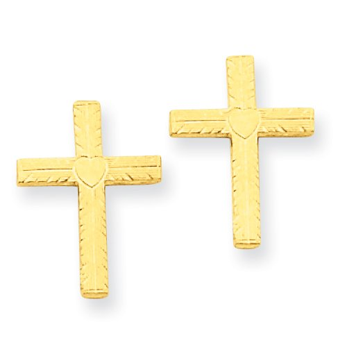 14k Polished and Satin Heart Cross Earrings