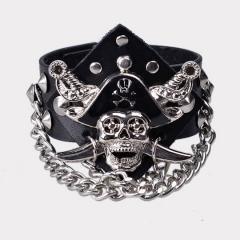 A Punkrock Rock Clothing Skull & Crossbones Pirates Alloy Leather Wrist Bracelet