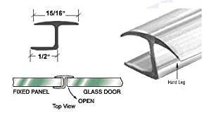 "CRL Polycarbonate ""h"" Jamb with Hard Leg for 180 Degree and 3/8"" Glass - 98 in long"