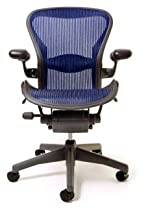 Hot Sale Aeron Chair by Herman Miller - Highly Adjustable - Graphite Frame - Lumbar Pad - Cobalt Classic (Medium)