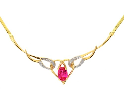 9ct Yellow Gold PNE1690 Ladies' Ruby and Diamond Necklace 46cm