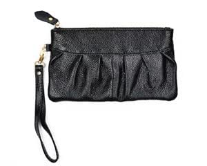 KLOUD City ® Black genuine / cow leather women clutch handbag wallet