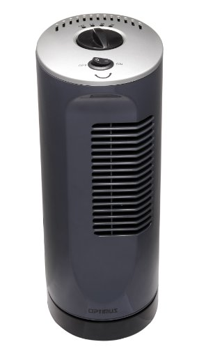 Optimus F-7320 Desktop 3-Speed Ultra Slim 13-Inch Tower Fan, Dark Grey