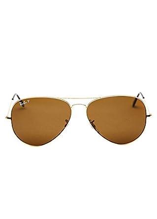 Ray-Ban Men's Polarized Aviator RB3025-002/58-62 Black Aviator Sunglasses