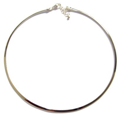 Brass Choker 06 Silver Plated 3mm Flat Lobster Clasp Neck Wire 15-16