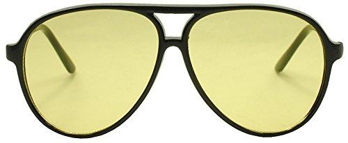 Sunglass Stop - Oversized Round 80's Vintage Blue Blocking Aviator Sunglasses (Black, Yellow) (Vintage Glasses 80 compare prices)