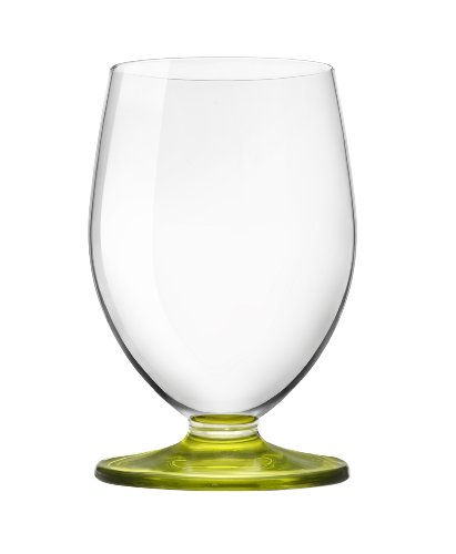 Bormioli Rocco Tulip Beverage Glass, Set of 12, Lime Green Stem
