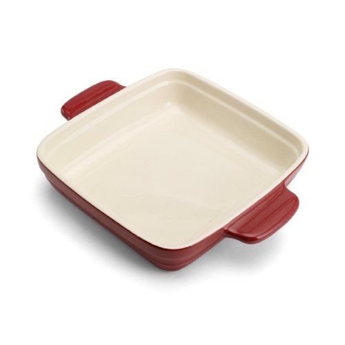 Pedrini Square Ceramic Baker, 9-Inch by 9-Inch, Red